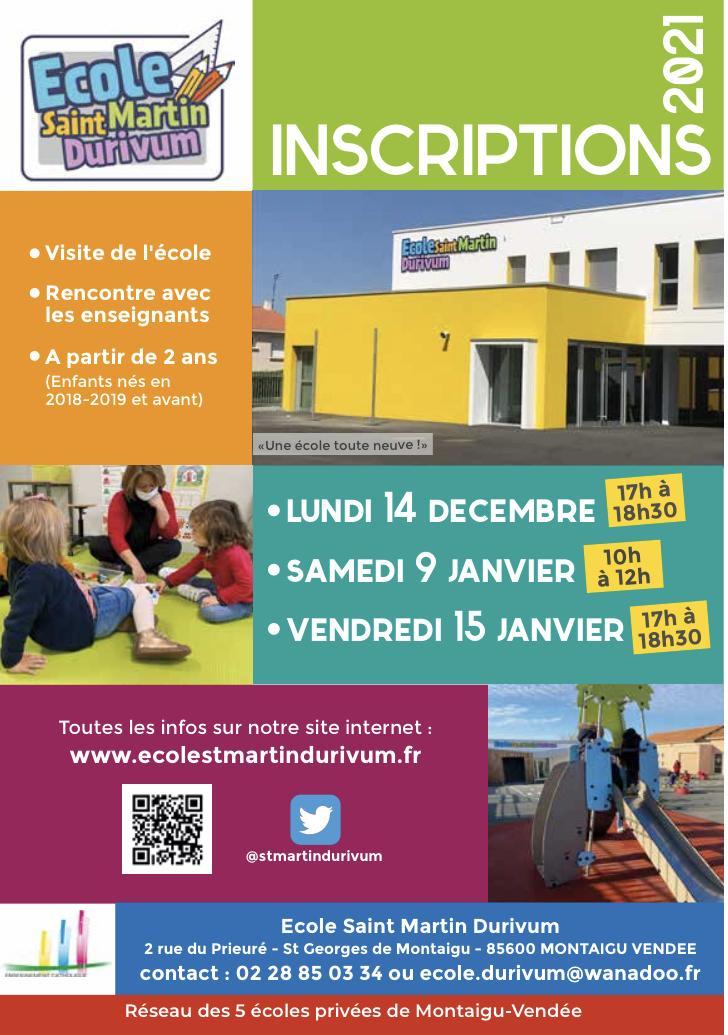 Portes ouvertes/Inscriptions @ Ecole Saint Martin Durivum